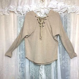 VALLEYGIRL Taupe lace up pullover